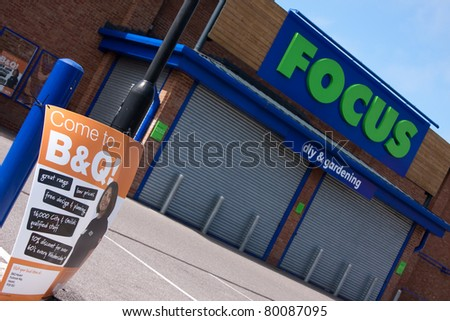 PETERSFIELD, HAMPSHIRE - JUNE 26: A closed down Focus DIY store, after the company went into administration.  B&Q owner, Kingfisher, has bought 31 of the stores in Petersfield, Hampshire, England - June 26, 2011. - stock photo