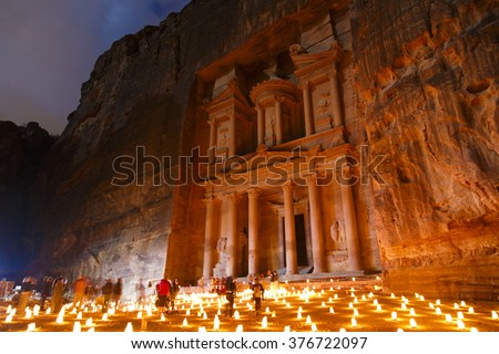 Petra by candle light, runs 3 nights a week, Monday, Wednesday and Thursday - stock photo