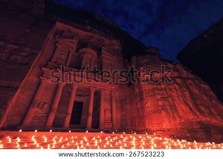 Petra by night, Jordan - stock photo