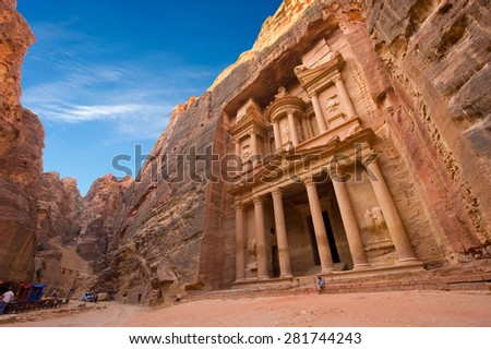 Petra, Jordan - October 12, 2014: The treasury or Al Khazna, it is the most magnificant and famous facade in Petra Jordan, it is 40 meters high, 2014 in Jordan - stock photo