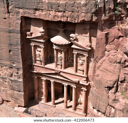 Petra's Al-Khazneh (The Treasury) is one of the most famous examples of rock-cut architecture, Jordan - stock photo