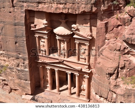 Petra's most famous icon, the Al Khazneh or The Treasury, tomb façade - stock photo