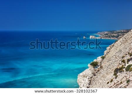 Petra tou Romiou, Aphrodite's birthplace in Paphos, Cyprus - stock photo