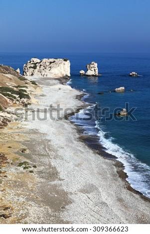 Petra tou Romiou - Aphrodite's rock and birthplace, July, 2015. Paphos District, Cyprus. - stock photo