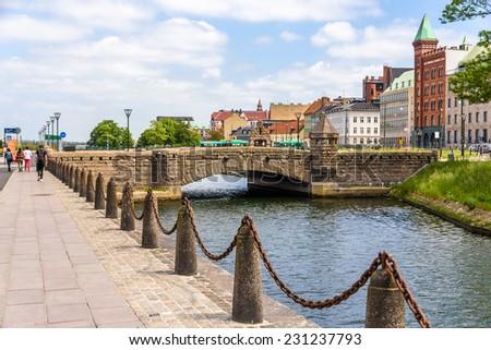 Petri Bridge in the old town of Malmo, Sweden - stock photo