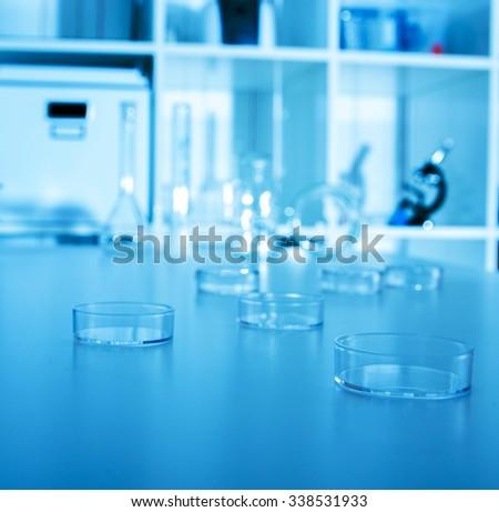 petri dish in laboratory. - stock photo