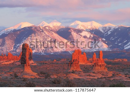 Petrified sand dunes with the La Sal Mountains in the background in Arches National Park near Moab, Utah - stock photo