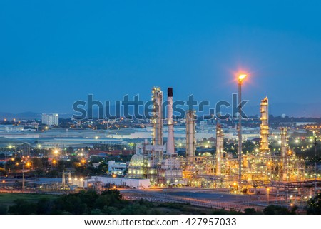 petrochemical industrial plant at twilight. - stock photo