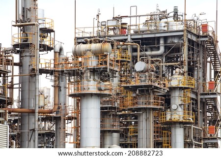 petrochemical industrial plant or oil refinery  - stock photo