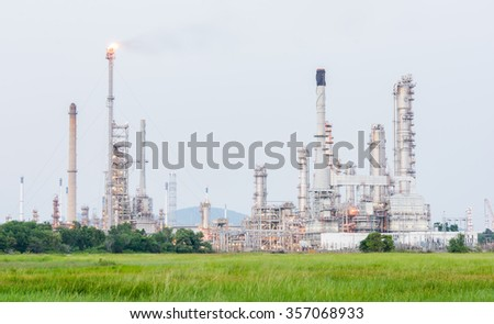 Petrochemical industrial plant power station at day of Thailand - stock photo