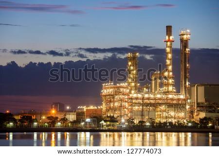 petrochemical industry night scene - stock photo