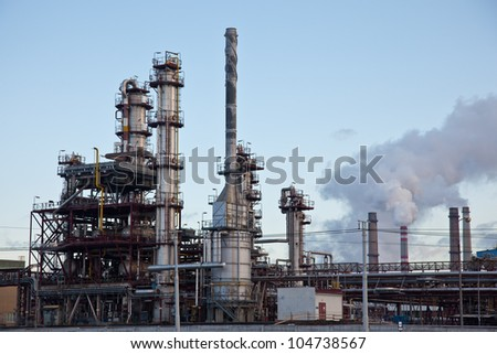 Petrochemical industry, showing stainless steel tubes and pipes - stock photo