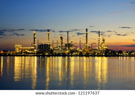 petrochemical oil refinery factory pipeline in the morning near river at  Bangkok Thailand - stock photo