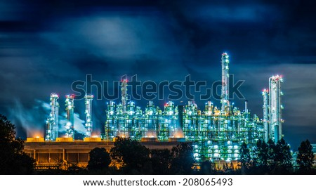 Petrochemical plant at night  - stock photo