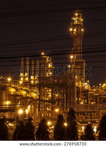 Petrochemical plant at twilight, with beautiful light. - stock photo