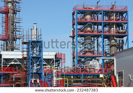 petrochemical plant construction site industry zone - stock photo