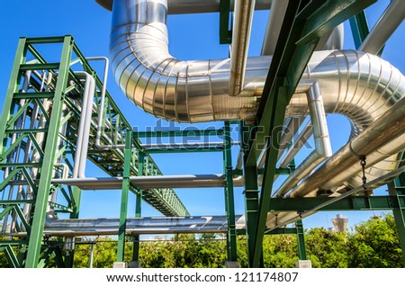 Petrochemical plant in industrial estate, Thailand - stock photo