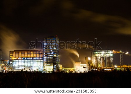 Petrochemical plant in night. Long exposure photography  - stock photo