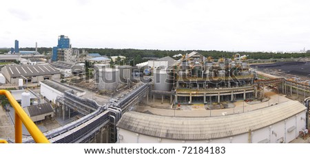 Petrochemical plant in panorama view - stock photo