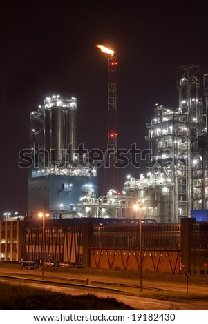 Petrochemical plant in the night - Antwerp port - stock photo