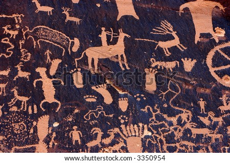 Petroglyphs at Newspaper Rock, Indian Creek, Utah - stock photo