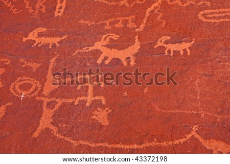 Petroglyphs in the Valley of Fire State Park - Nevada - stock photo