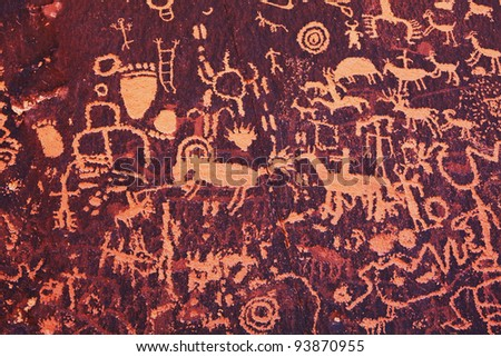 Petroglyphs on newspaper rock in Canyonlands national park, Utah - stock photo