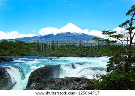 Petrohue Falls with Osorno Volcano, Patagonia, Chile, South America - stock photo