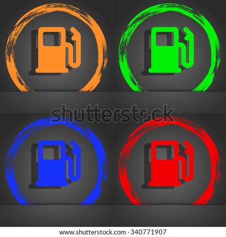 Petrol or Gas station, Car fuel icon symbol. Fashionable modern style. In the orange, green, blue, green design. illustration - stock photo