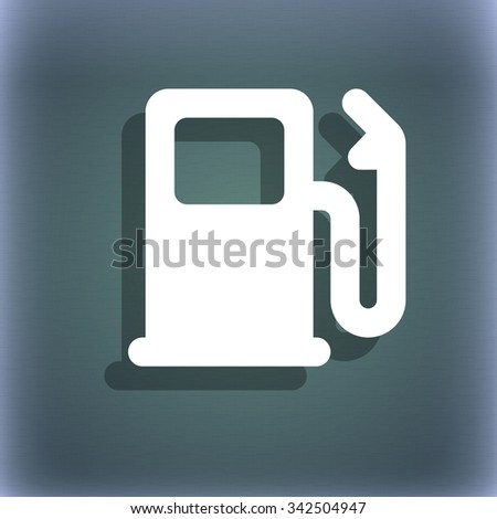 Petrol or Gas station, Car fuel icon symbol on the blue-green abstract background with shadow and space for your text. illustration - stock photo