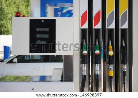 petrol station and refueling machine - stock photo