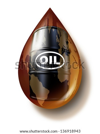 Petroleum industry and fossil fuel business as a world map on an oil drop with a drum barrel can of gasoline fuel as a commodities concept for energy resources. - stock photo