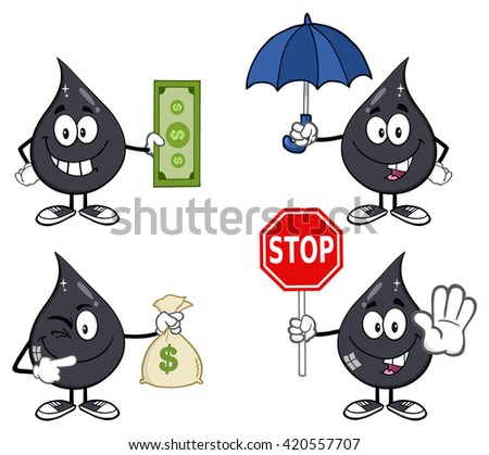 Petroleum Or Oil Drop Cartoon Character 05. Set Raster Collection Isolated On White - stock photo