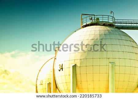 Petroleum storage tank - stock photo