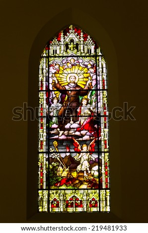 PETROPOLIS, RIO DE JANEIRO / BRAZIL - August 22, 2014: Stained Glass Parish Catholic Church of the Sacred Heart of Jesus - Inaugurated in 1874 to prayers of German immigrants - stock photo