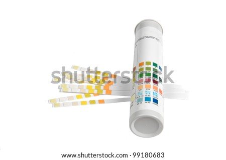 PH indicators and tube with PH values. - stock photo
