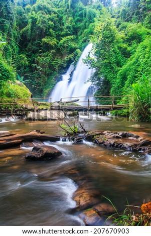 Pha Dok Xu waterfall at Doi Inthanon National park in Chiang Mai Thailand - stock photo