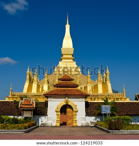 Pha That Luang stupa in  Vientiane, Laos. The most important national monument in Laos. - stock photo