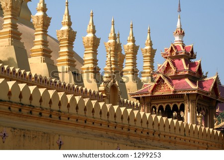 Pha That Luang Temple in Vientiane, Laos, Southeast Asia - stock photo