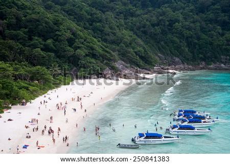 Phang Nga, Thailand-Feb 05, 2015 : clear water and beautiful sea like a heaven at Similan island, Phang-nga Thailand - stock photo