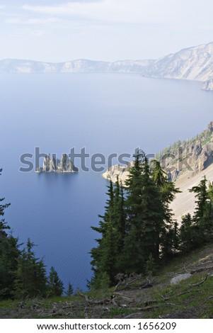Phantom ship rock, Crater Lake - stock photo