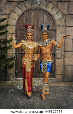 Pharaoh and Nefertiti - stock photo