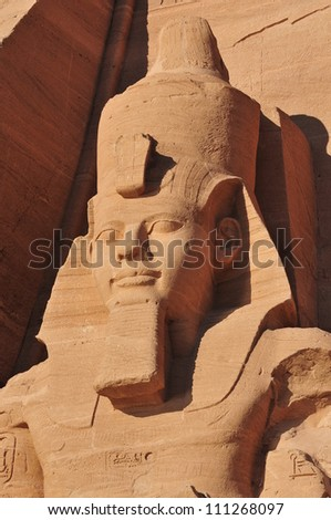 Pharaoh Monument from Abu Simbel. The Abu Simbel temples are two massive rock temples in Abu Simbel in Nubia, southern Egypt. - stock photo