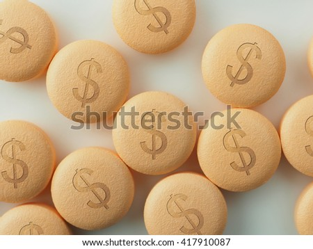 Pharmaceutical industry or Big Pharma. Tablets or pills with a dollar mark, on natural white background. Shallow depth of field due to subject size. - stock photo