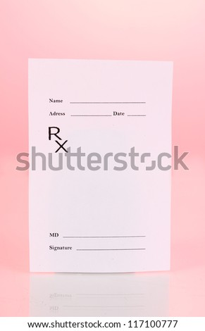 Pharmacist prescription on pink background - stock photo