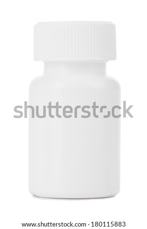 pharmacology. vitamins and tablets in container. isolated on white background - stock photo