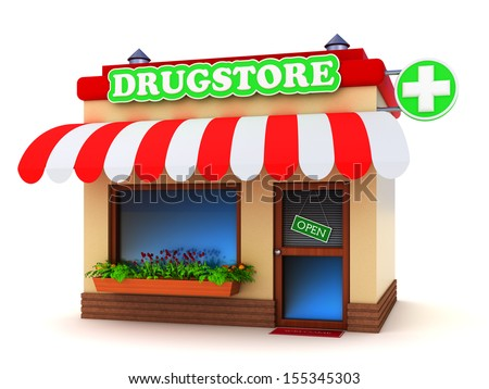 Pharmacy building with a green cross sign isolated on white - stock photo