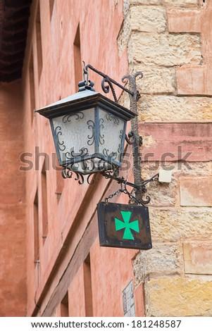 pharmacy green cross sign - stock photo