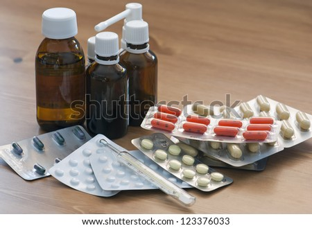 Pharmacy. Home first aid kit. - stock photo