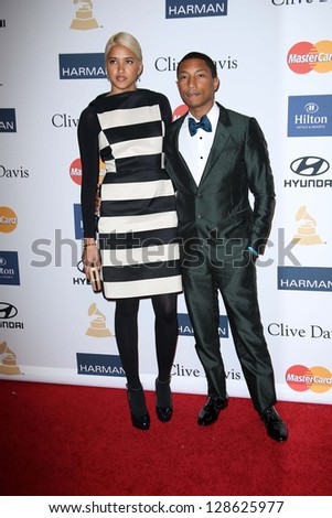 Pharrell Williams at the 2013 Clive Davis And Recording Academy Pre-Grammy Gala, Beverly Hilton Hotel, Beverly Hills, CA 02-09-13 - stock photo